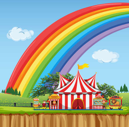 Circus scene with rainbow in the sky illustration Ilustrace