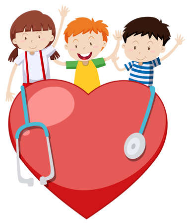 Three happy children with big heart and stethoscope illustration