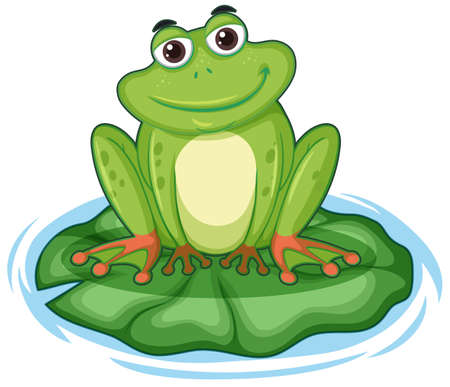 Happy frong sitting on lotus leaf illustration