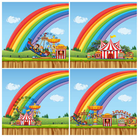 Four scenes with children riding rides in the funpark illustration Illustration