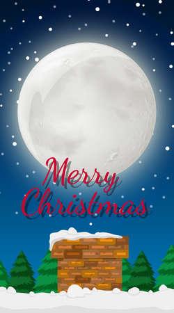 Background scene with christmas night illustration
