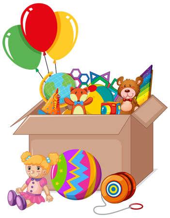 Cardboard box full of toys on white background illustration
