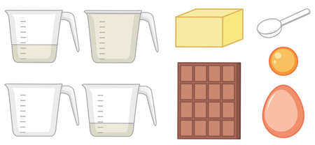 Set of baking ingredients and measuring cups on white background illustration Illustration