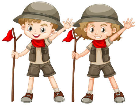 Boy and girl in safari outfit with red flag illustration