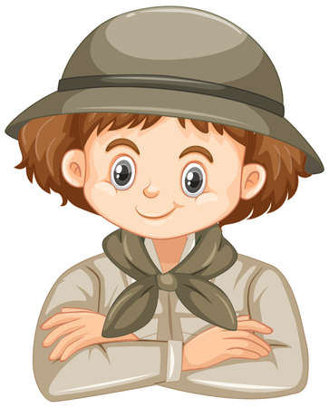 Cute girl in safari outfit smiling on white background illustration