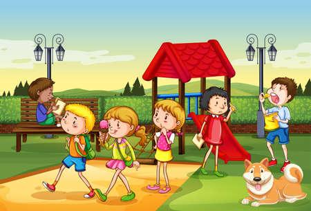 Escena con muchos niños jugando en la ilustración del patio de recreo.