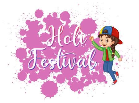 Conception d'affiche du festival Happy Holi avec illustration de fond coloré