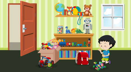 Scene with little boy playing in the room illustration