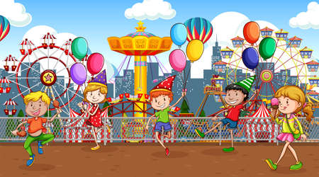 Scene with many children playing in the circus park illustration