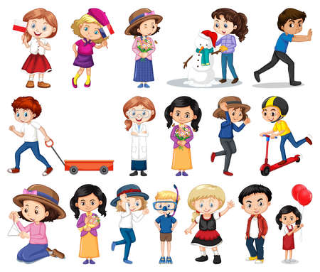Large set of boys and girls doing different activity on white background illustration