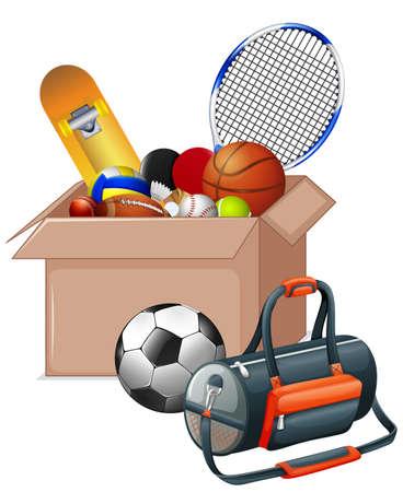 Cardboard box full of sport equipments on white background illustration  イラスト・ベクター素材