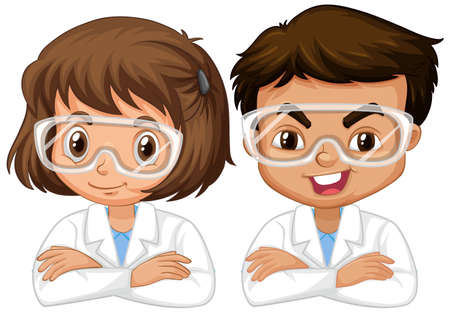 Boy and girl in science gown on white background illustration