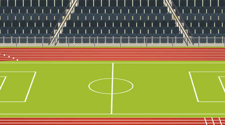 Background scene of football field with stadium illustration
