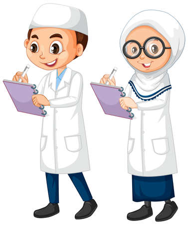 Boy and girl in science gown standing on white background illustration