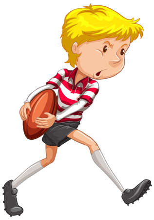 Athlete playing rugby on white background illustration  イラスト・ベクター素材