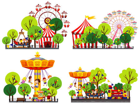 Four scenes of circus with many rides illustration