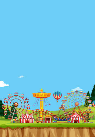 Circus scene with many rides at day time illustration Illustration