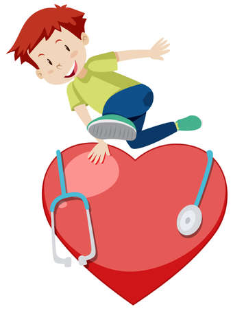 Happy boy jumping over the big red heart illustration