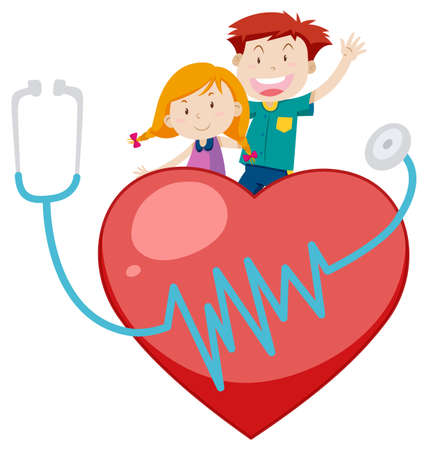 Happy boy and girl on big red heart illustration