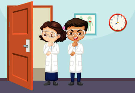 Classroom scene with two science students inside illustration