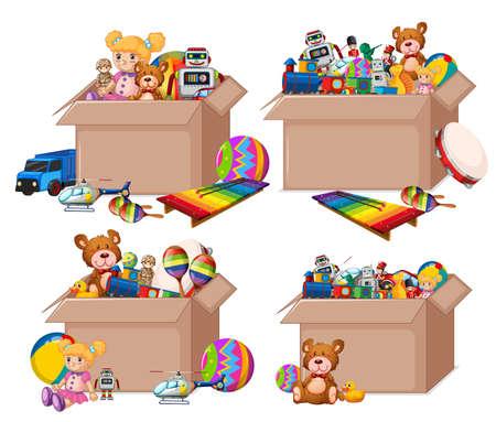 Set of boxes full of toys on white background illustration Vecteurs