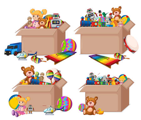 Set of boxes full of toys on white background illustration 向量圖像