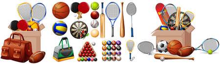 Set of sport equipments on white background illustration