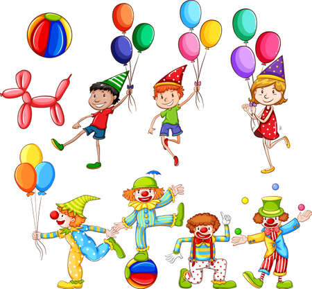 Set of children and clowns with balloons illustration