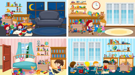 Four scenes with children playing in different rooms illustration Vetores