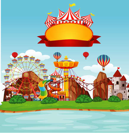 Background scene of funpark with many rides illustration