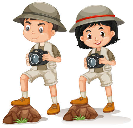 Boy and girl in safari outfit on white background illustration