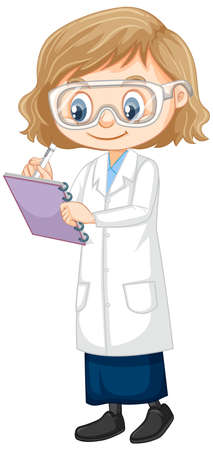Girl in science gown on white background illustration