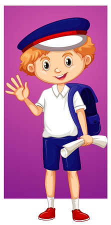 Happy boy waving hand illustration Ilustração
