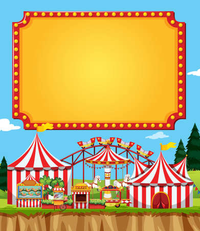 Circus scene with sign template in the sky illustration Illustration