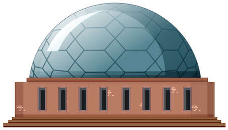 Single building with round roof illustration Ilustração