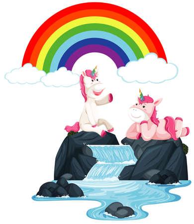 Happy unicorns sitting on the waterfall illustration Векторная Иллюстрация