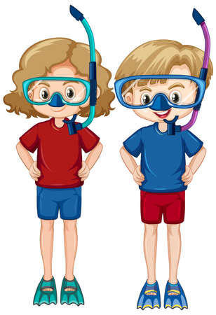 Boy and girl wearing snorkels and fins on white background illustration
