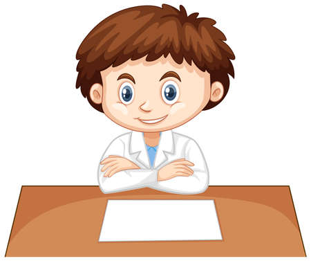 Boy in science gown sitting on table illustration