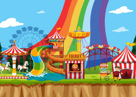 Circus scene with many rides in the field illustration