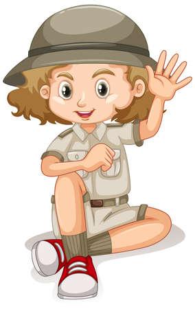 Girl in safari outfit on white background illustration Vecteurs