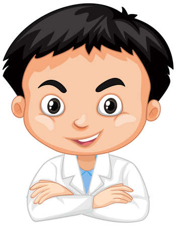 Cute boy in lab gown on white background illustration Ilustracja