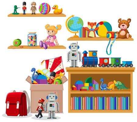 Shelf full of books and toys on white background illustration 일러스트