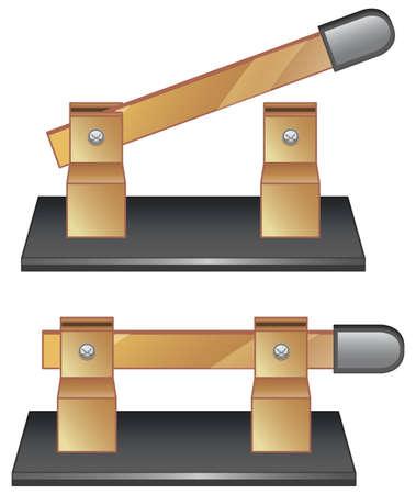 Two circuit breakers on white background illustration Ilustração