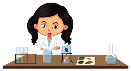 Scientist doing experiment with leaves illustration