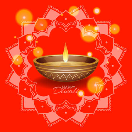 Background with mandala pantern for happy diwali festival illustration Ilustracja