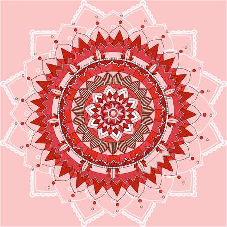 Mandala patterns on pink background illustration