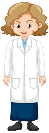 Girl in science gown standing on white background illustration Ilustracja