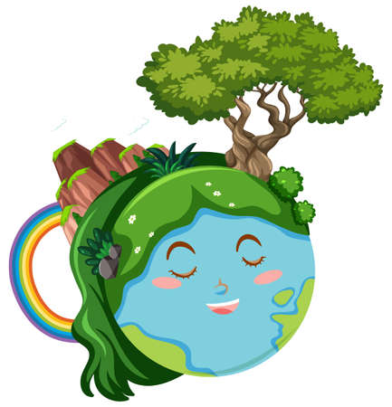 Happy earth with green plants and mountain illustration
