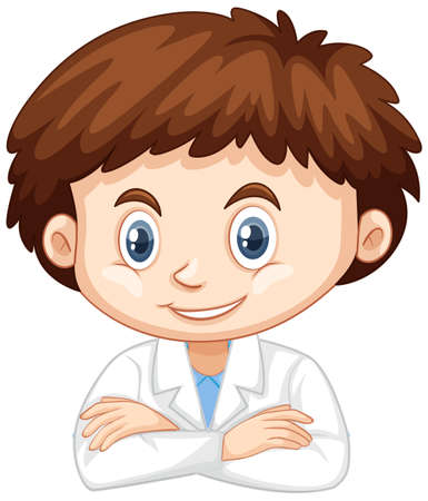 Happy boy wearing lab gown on white background illustration Ilustracja