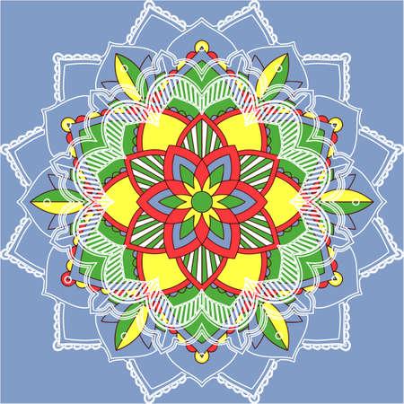 Mandala patterns on blue background illustration